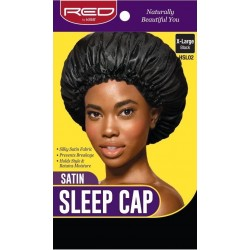 Satin Sleep Cap - X Large - Black