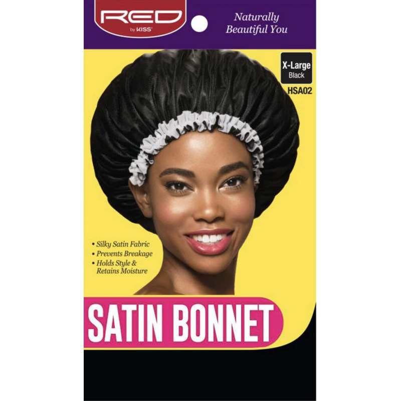 Satin Sleep Cap with white fringe - X Large - Black