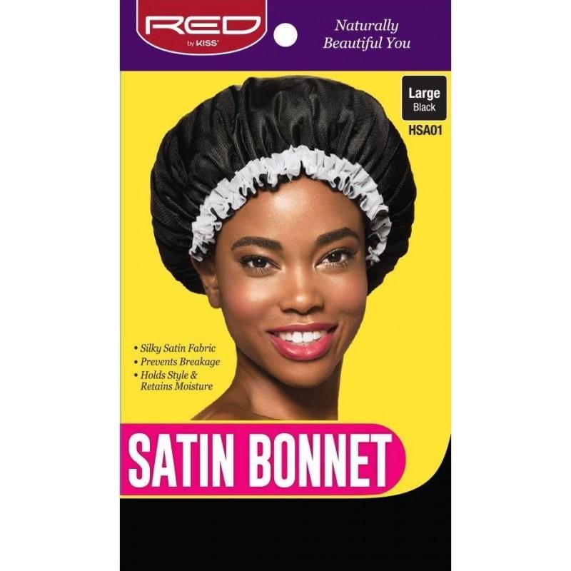 Satin Sleep Cap - Large - With white Fringe - BLACK