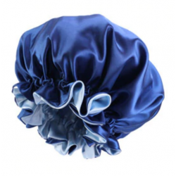 Ajustable Satin Lined Bonnet - Double Layer - AFRO KURLY - Royal Blue/Light Blue