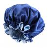 Bonnet en Satin Reversible et Réglable - Doublé - AFRO KURLY - Bleu Royal / Bleu Clair