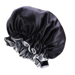 Ajustable Satin Lined Bonnet - Double Layer - AFRO KURLY - Black/Grey