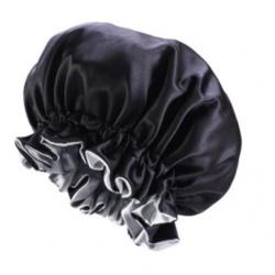 Bonnet en Satin Reversible et Réglable - Doublé - AFRO KURLY - Noir / Gris