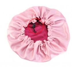 Ajustable Satin Lined Bonnet Ajustable - Double Layer - AFRO KURLY - Burgundy/Pink
