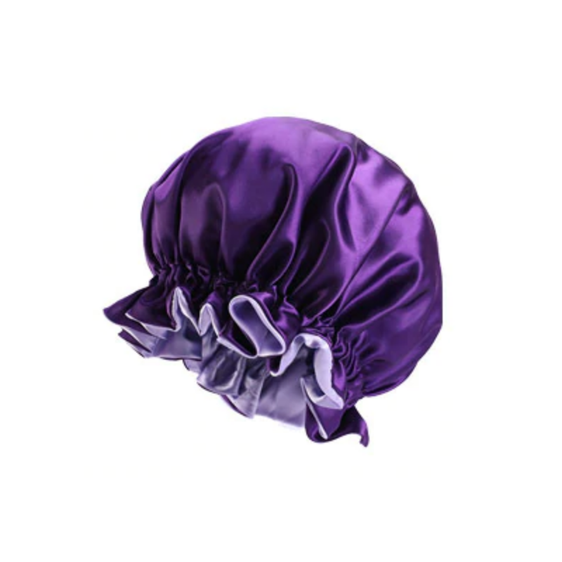 Ajustable Satin Lined Bonnet - Double Layer - AFRO KURLY - Purple