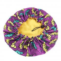 """Bonnet en Satin Extérieur Motif """"Wax"""" Réglable - AFRO KURLY - Purple Bliss"""