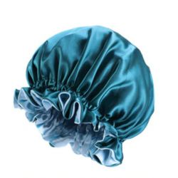 Ajustable Satin Lined Bonnet - Double Layer - AFRO KURLY - Teal/Light Blue