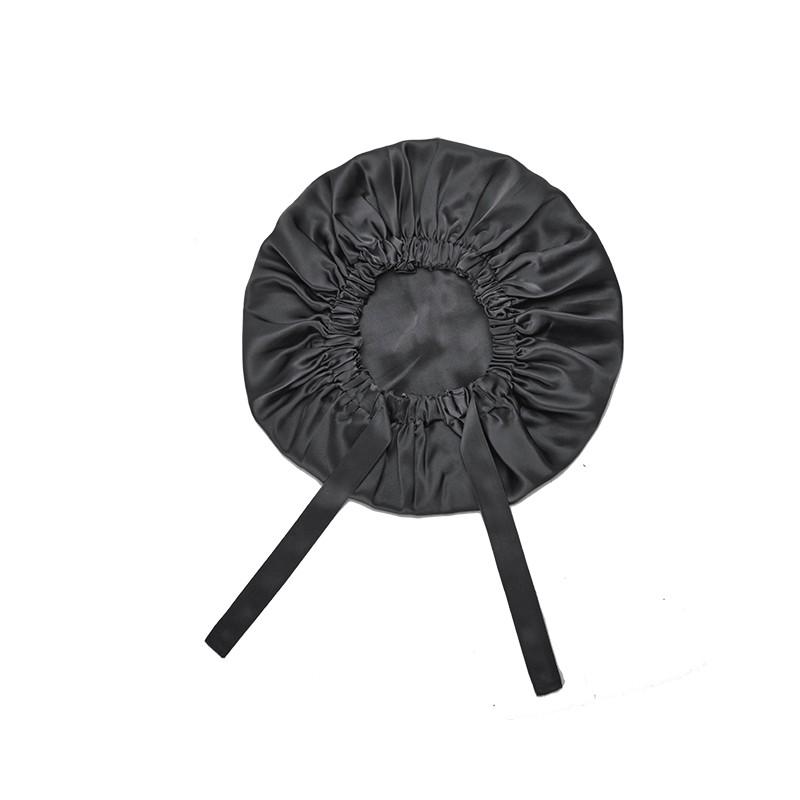 Handmade Premium Satin Bonnet - double Layer -Black